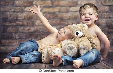 немного, boys, два, их, enjoying, детство