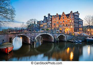 нидерланды, закат солнца, амстердам