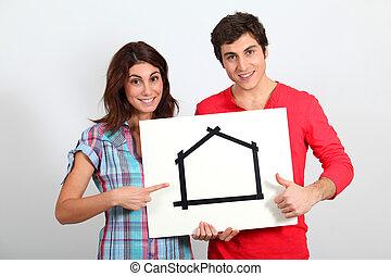новый, пара, молодой, buying, дом