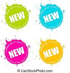 новый, продукт, splattered, значок