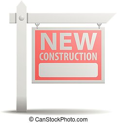 новый, строительство, знак