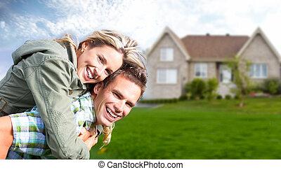 новый, house., семья, счастливый