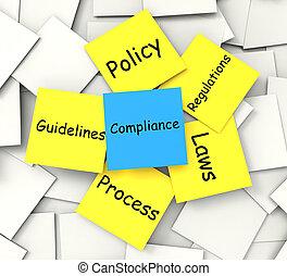 нормативно-правовые акты, заметка, показ, соблюдение, conforming, post-it, политика