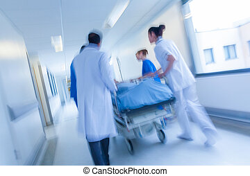 носилки, пациент, крайняя необходимость, больница, движение, пятно, гурни