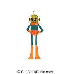 носить, веселая, eyes, антенна, пространство, большой, персонаж, гуманоид, иллюстрация, овальный, форма, вектор, зеленый, инопланетянин, костюм, маленький, мультфильм