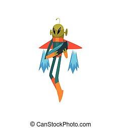 носить, веселая, eyes, антенна, пространство, взрыватель, большой, летающий, персонаж, гуманоид, jetpack, инопланетянин, маленький, форма, вектор, зеленый, иллюстрация, костюм, овальный, мультфильм