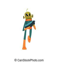 носить, веселая, eyes, антенна, пространство, взрыватель, персонаж, гуманоид, иллюстрация, инопланетянин, овальный, форма, вектор, зеленый, большой, костюм, маленький, мультфильм