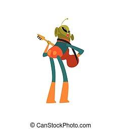 носить, веселая, eyes, антенна, пространство, гитара, персонаж, гуманоид, иллюстрация, playing, инопланетянин, овальный, форма, вектор, зеленый, большой, костюм, маленький, мультфильм