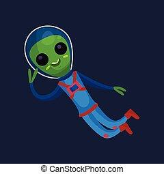 носить, веселая, eyes, инопланетянин, пространство, большой, летающий, пространство, иллюстрация, синий, положительный, вектор, зеленый, костюм, мультфильм, персонаж