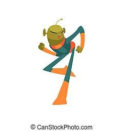 носить, веселая, eyes, танцы, антенна, пространство, большой, персонаж, гуманоид, иллюстрация, инопланетянин, овальный, форма, вектор, зеленый, костюм, маленький, мультфильм