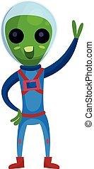 носить, веселая, eyes, his, инопланетянин, пространство, рука, большой, синий, персонаж, иллюстрация, waving, положительный, вектор, зеленый, костюм, мультфильм