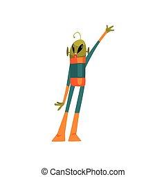 носить, веселая, eyes, waving, антенна, пространство, рука, большой, персонаж, гуманоид, иллюстрация, мультфильм, инопланетянин, маленький, форма, вектор, зеленый, костюм, овальный, его