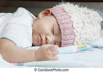 носить, лицо, вверх, постель, спать, детка, закрыть, шерсть, капот, одежда