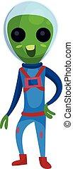 носить, синий, eyes, инопланетянин, пространство, большой, персонаж, иллюстрация, дружелюбный, костюм, вектор, зеленый, положительный, мультфильм