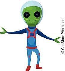 носить, синий, eyes, инопланетянин, пространство, большой, персонаж, иллюстрация, костюм, вектор, зеленый, положительный, улыбается, мультфильм