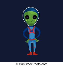 носить, синий, eyes, инопланетянин, пространство, большой, персонаж, иллюстрация, мультфильм, костюм, вектор, зеленый, положительный, улыбается, дружелюбный