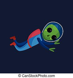 носить, синий, eyes, пространство, большой, летающий, пространство, иллюстрация, дружелюбный, инопланетянин, костюм, вектор, зеленый, положительный, мультфильм, персонаж