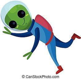 носить, синий, eyes, пространство, большой, летающий, пространство, иллюстрация, инопланетянин, вектор, положительный, костюм, улыбается, мультфильм, персонаж