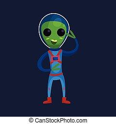 носить, синий, eyes, his, инопланетянин, пространство, рука, большой, костюм, персонаж, иллюстрация, дружелюбный, waving, вектор, зеленый, положительный, улыбается, мультфильм
