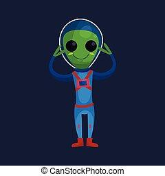 носить, синий, eyes, his, пространство, большой, raised, персонаж, arms, иллюстрация, постоянный, инопланетянин, вектор, зеленый, костюм, улыбается, положительный, мультфильм