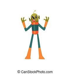 носить, страшно, eyes, антенна, пространство, большой, персонаж, гуманоид, иллюстрация, овальный, форма, вектор, зеленый, инопланетянин, костюм, маленький, мультфильм