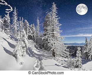 ночь, гора, зима, пейзаж, лес, красивая