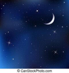 ночь, небо, число звезд:, луна