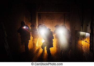 ночь, рейнджер, операция, команда, военный