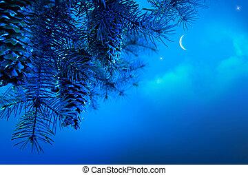 ночь, филиал, дерево, синий, небо, изобразительное искусство, задний план, рождество