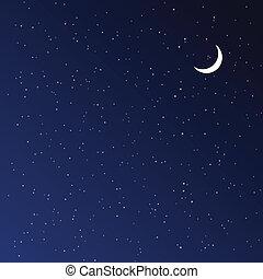 ночь, illustration., вектор, sky.