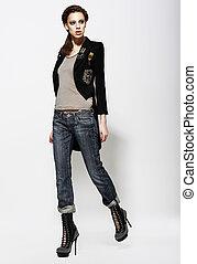обаятельный, женщина, модный, boots., джинсы, стиль, высокая, мода