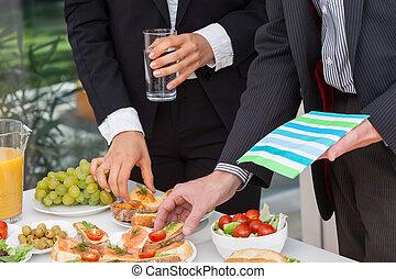 обед, принимать пищу, бизнес, люди