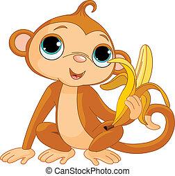 обезьяна, веселая, банан