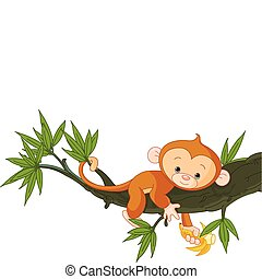 обезьяна, детка, дерево