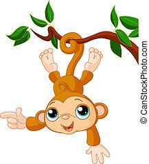 обезьяна, детка, показ, дерево