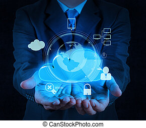 облако, безопасность, бизнес, бизнесмен, трогать, интернет, 3d, компьютер, значок, экран, онлайн, рука, концепция