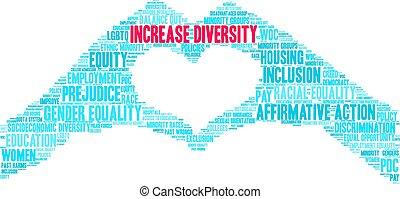 облако, увеличение, слово, разнообразие