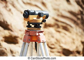 оборудование, геодезист, оптический, на открытом воздухе, уровень