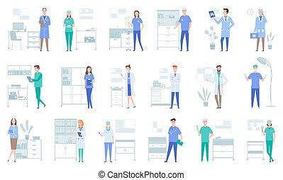 оборудование, концепция, задавать, doctors, illustrations, медицинская, работа, около, instruments., services