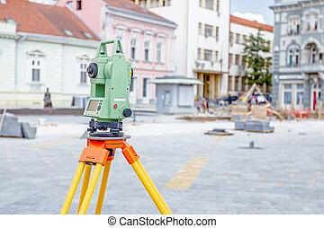 оборудование, engineer's, земельные участки, гражданского, геодезия, инструмент, теодолит