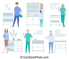 оборудование, services, doctors, работа, illustrations, instruments., задавать, медицинская, около, концепция