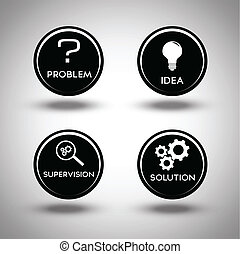 обработать, проблема, solving, icons