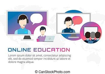 образование, онлайн, illustration., школа, webinar