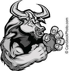 образ, корова, вектор, графический, бык