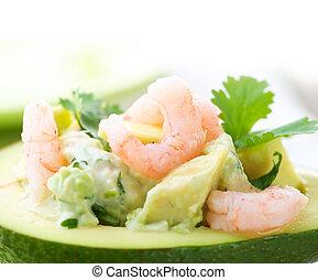 образ, крупный план, авокадо, salad., shrimps