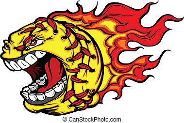 образ, мяч, софтбол, кричащий, fastpitch, лицо, вектор, flames