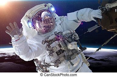 образ, планета, над, elements, earth., это, астронавт, nasa, меблированный, пространство