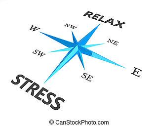 образ, стресс, компас, расслабиться, концептуальный, words