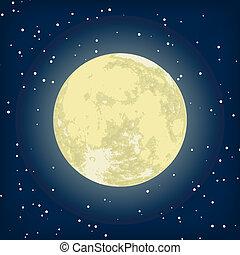 образ, eps, луна, вектор, 8, night.