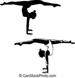 образ, performing, упражнение, гимнаст, черный, белый